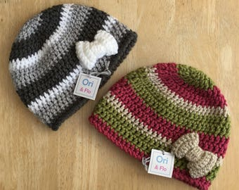 Girls hat with bow, 6-10 Years hat, Crochet Beanie Hat with bow - handmade girls hat, vegan friendly hat, girls hat, girls beanie