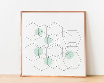 Hexagon Printable Line Art, Geometric Pattern Instant Download, Black and White Print, Gifts for Quilters, Graphic Design Wall Art, Modern