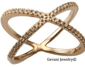 14kt Gold Criss Cross Diamond Ring, X Ring, Diamond X Ring, Dainty Ring. Handmade by Gevani Jewelry.