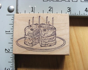 Om Studio Birthday Layer Cake with Candles DESTASH Rubber Stamp, Used Rubberstamp