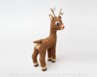 Rudolph The Red-Nosed Reindeer Free Pattern Modification + Fawn Amigurumi Pattern, Christmas Crochet Gift, xmas present, home decor, winter