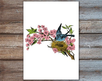 cherry blossom art, bird art print - birds nest in cherry blossom tree, bird wall art