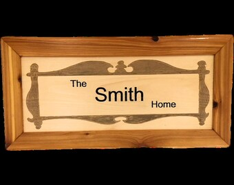Laser engraved wood family sign