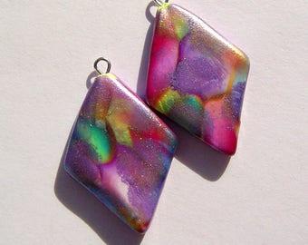 Lucky For You Diamond Charms Handmade Artisan Polymer Clay Pair
