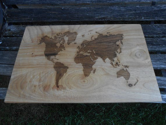 LARGE World Map Cutting Board, Laser Engraved. Gift For Dad, Fathers Day, Wedding, Christmas, Groom. Travel, Bride Groom, Rustic Decor