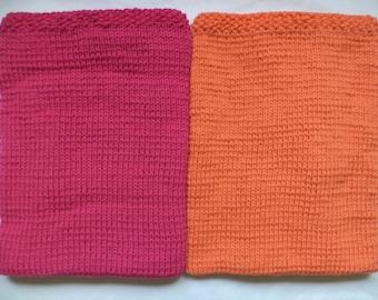 Baby blanket wool 75 x 80 cm wool knitted blanket pink orange