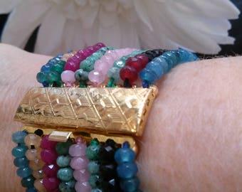 Bracelet Wonderful Gemstone Multistrand 8 strands with beautiful Gold Metal clasp