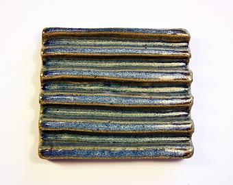 Ceramic Soap Dish - Blue Soap Dish, Soap Rest, Elegant Soap Dish, Clay Soap Dish, Handmade Soap Dish, Pottery Soap Dish, Soap Holder