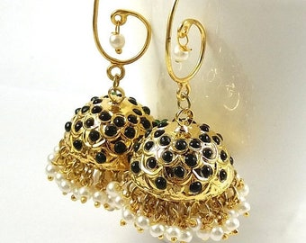 Summer Sale 50% Jhumka Earrings, Indian Earring, Pucchi Jewelry , Indian Jhumka, Black Jhumka, 24K Gold Plated Earrings, Pearl Earring