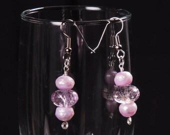 Ametrine and pearl gemstone earrings