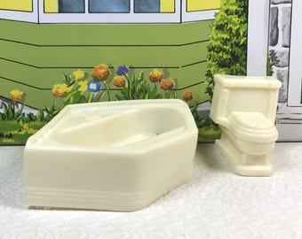 "SUPERIOR BATHTUB and TOILET, 1/2"" Scale, Soft Plastic, 1950's, Bathroom, Marx Mold Contemporary Style, Vintage T. Cohn Dollhouse Furniture"