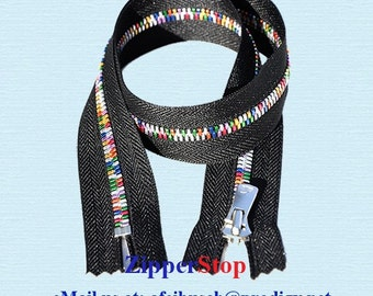 36 inch - EXCELLA Rainbow ZIPPER - ykk - Closed Bottom - Black - ~ZipperStop Wholesale Authorized Distributor YKK®
