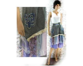 Sweater skirt - midi skirt - knit sweater skirt - Boho chic skirt - Lagenlook skirt - Midi sweater skirt - OOAK clothing -  # 19