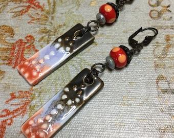 Bohemian earrings ceramic charms lampwork dangle indie boho