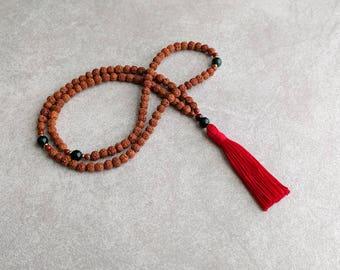 Rudraksha Mala Beads with Bloodstone - Hindu - Buddhist - 6mm Mala Prayer Beads - Item # 811