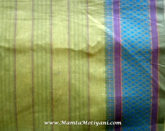 Green Indian Saree Fabric By The Yard, Handmade Fabric, Hand Woven Cotton, Lightweight Curtain Material, Indian Cotton Fabric, Ilkal Saree