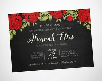 Red roses graduation party invitation, floral graduation open house or graduation party invitation for her, class of 2018