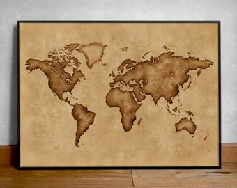 Silhouette Map of the World, Old World Map Poster, Old Burnt Map, Minimalistic Map