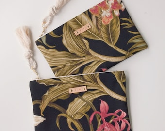 Black Tropical Zipper Pouch Monogram Makeup Bag