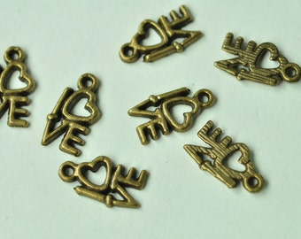 30pcs Antique Bronze Love Heart Letter Charms 14x8mm MM619