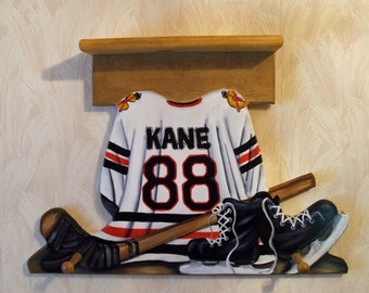 Custom HOCKEY JERSEY Wall Hanging with Shelf and 2 Pegs