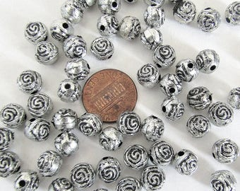 60 Silver ROSE Beads ~ 8 mm Rose Beads for Rosary Bracelets Rosaries Pater Our Father beads Flower beads SILVER finish Lot 60 ITALY