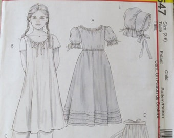 Child's Early American Costume Pattern - Sizes 3 - 6 - McCalls M4547 - Historical Costume Pattern for Girls