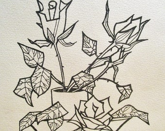 Design/drawing ink / black and white with a bouquet of roses