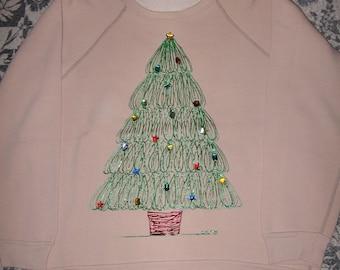 Ugly Christmas Sweater Sweatshirt Tree Large Beige Handpainted Upcycled