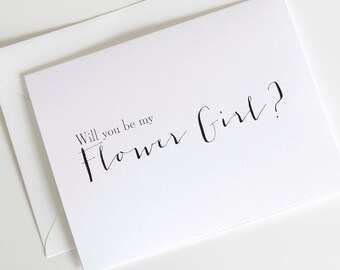 Be My Flower Girl, Will You Be My Flowergirl Wedding Day Cards, Printed Cards with Envelopes (WB007-HW)