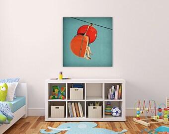 large photography // childrens art canvas // orange retro art - Skyglider I, ready-to-hang Santa Cruz canvas photography