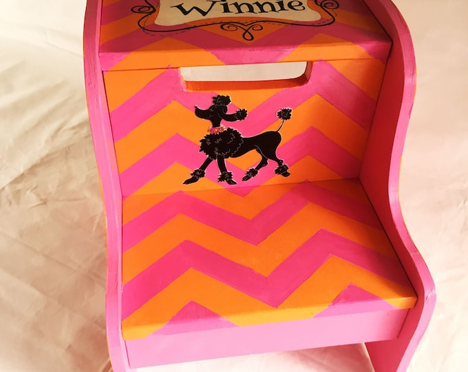Personalized Step Stool - Poodle Chevron