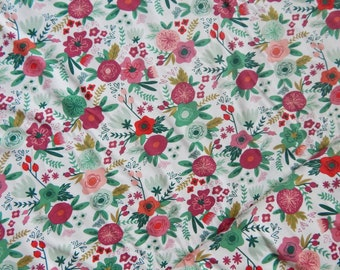 SALE On Trend Main White - Riley Blake Designs - Green Floral Flowers - Jersey KNIT cotton lycra stretch fabric - choose your cut