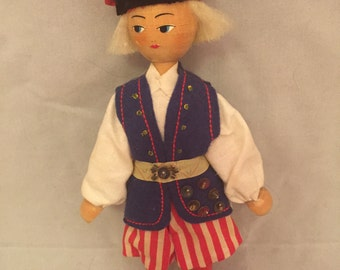 """Vintage Polish Gromada Hand Painted Wooden Doll - 7.5"""" Tall"""