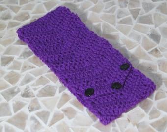 Womens Purple Chevron Headband-Crocheted Soft Washable Wool Ear Warmer