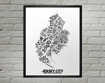 Jersey City New Jersey Neighborhood Typography City Map Print