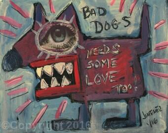 """Outsider Art Print - Art Brut - Primitive art Print, Rare art, Folk Art    """"Bad Dogs...."""