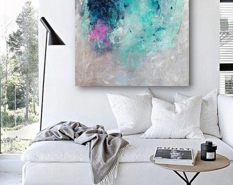 Original painting, Abstract painting on canvas, original gift idea, blue and turquoise,pink painting