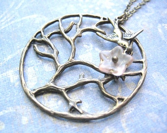 Tree of Life Necklace - Antique Bronze Pendant with Swallow Bird and Pink Flower Bead