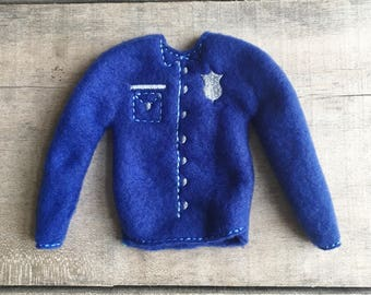 """Elf sweater/holiday elf clothes/12"""" doll sweater/doll clothing/elf sweatshirt/elf clothing/elf costume/elf police shirt"""