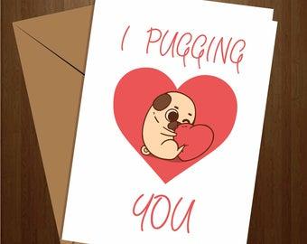 Pug anniversary card etsy