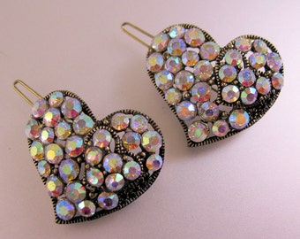 Two Heart Shaped Iridescent Rhinestone Hair Clips in Gold Tone Metal Vintage Jewelry