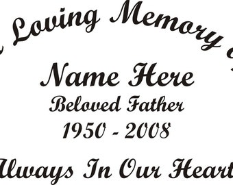 In Loving Memory Of Beloved Father Memorial Window Decal