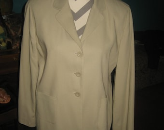 Hillard & Hanson 2 Piece Beige Suit / Short Skirt and Button Up Jacket