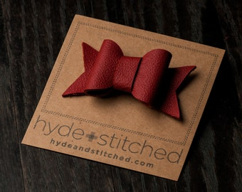"""Ruby Red Leather Hair Bow, One 2.5"""" Handcrafted Leather Bow, Hair Accessory"""