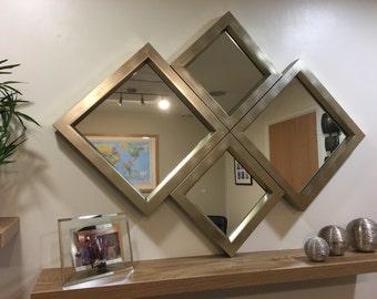 "EXCLUSIVE""The Ingleton"" Bronze/Pale Gold Diamond Wall Mirror 115 X 86 CM"