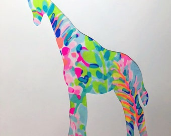 New Made To Order custom Giraffe Pillow made with Lilly Pulitzer Multi Catch the Wave fabric