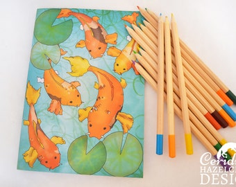 Koi Carp Notebook, Journal, Note Pad, Blank Pages, Stocking Filler, Koi Gift