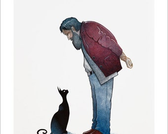Old man and black cat