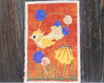 Firechick -- Fabric Postcard (OOK)